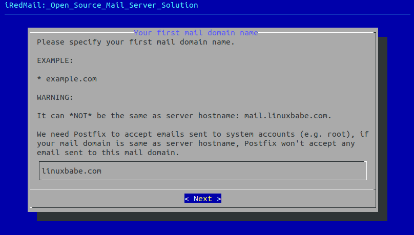 set up mail server on centos 8