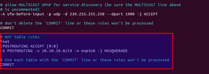 ubuntu wireguard UFW NAT table POSTROUTING MASQUERADE