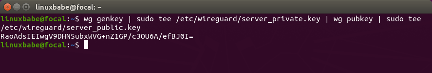 wireguard VPN server generate public private key