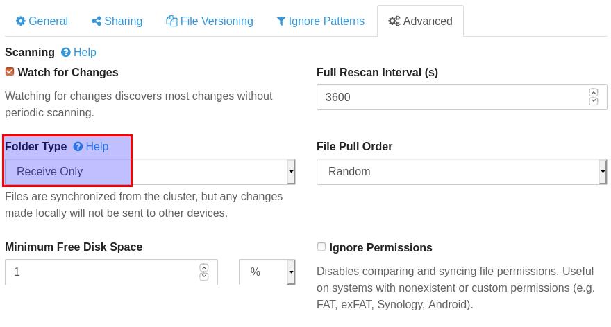 syncthing folder type