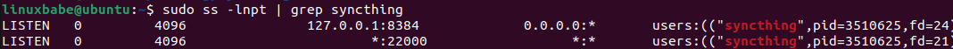 ubuntu syncthing listen port 22000