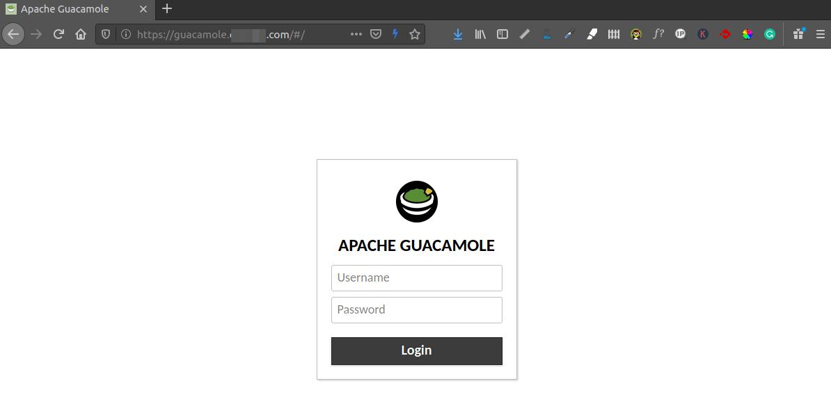 apache guacamole remote desktop login page