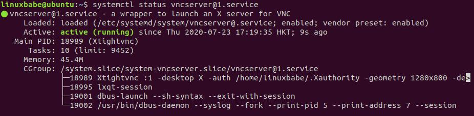 systemctl status vncserver@1.service ubuntu 20.04