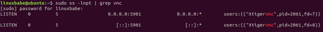 ubuntu 20.04 tigervncserver listening port