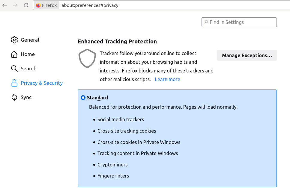 Firefox blocks third-party trackers