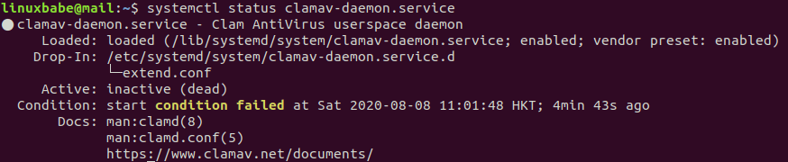 clamav-daemon ubuntu 20.04