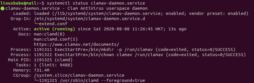 clamav-daemon.service ubuntu 20.04