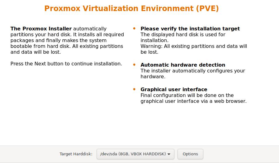 proxmox ve install target harddisk
