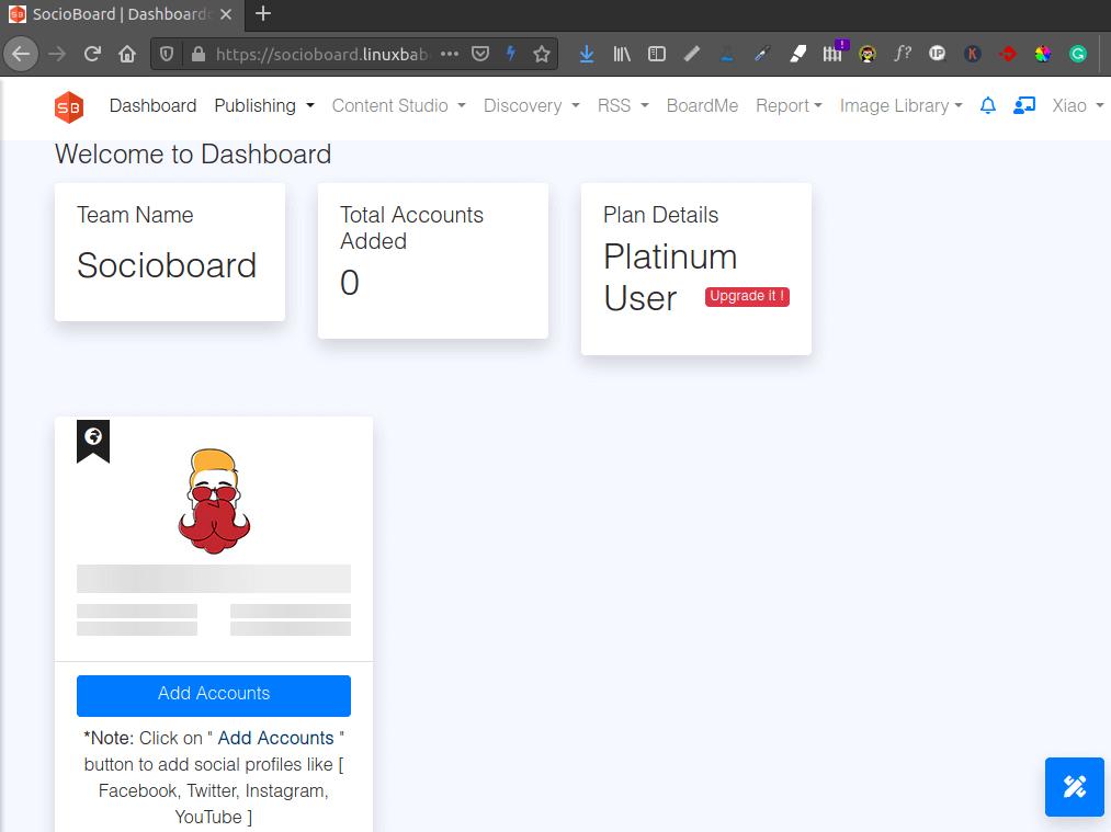 socioboard dashboard