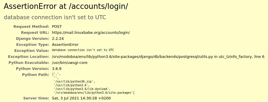 database connection isn't set to UTC