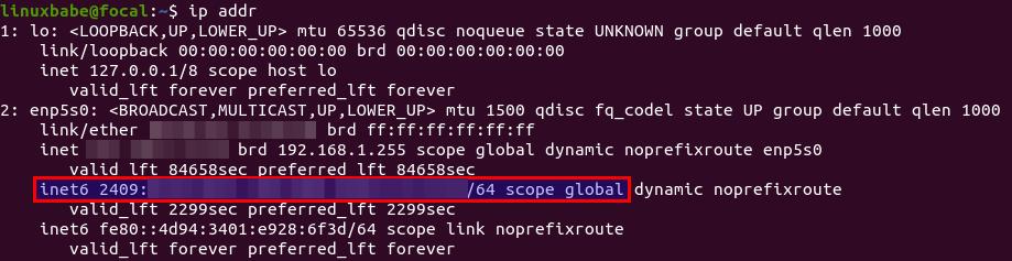 ip addr ipv6 scope global