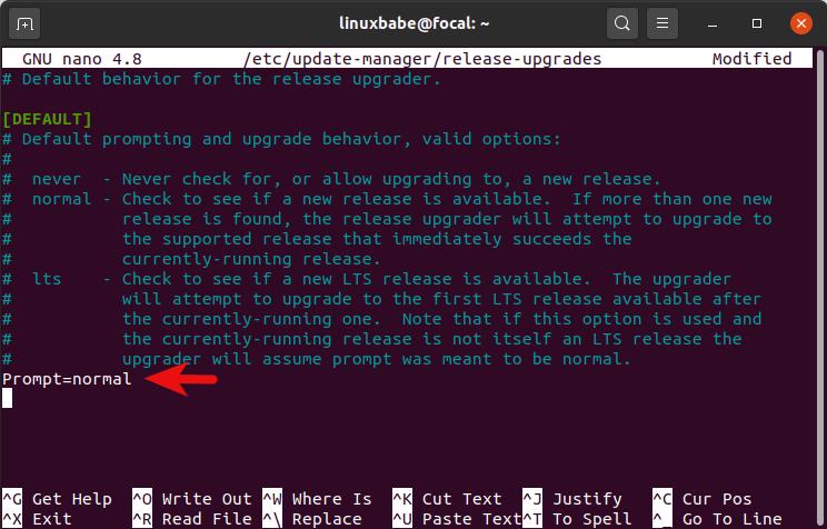 ubuntu 20.10 prompt normal