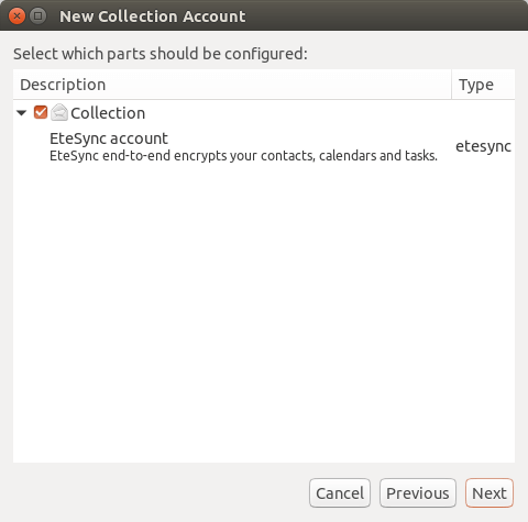 etesync collection account ubuntu