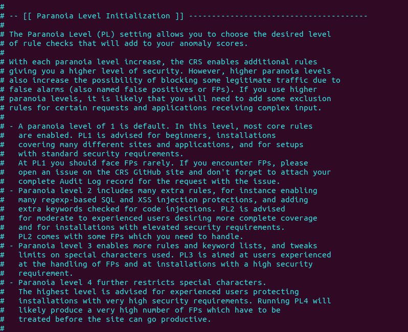 modsecurity Paranoia Level Initialization debian ubuntu