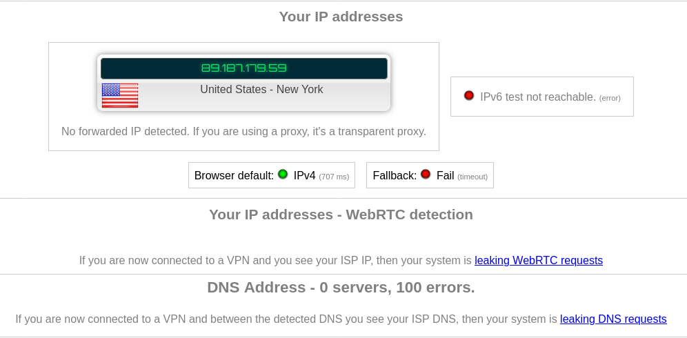 protonvpn DNS Leak WebRTC Leak Test