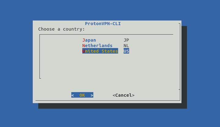 protonvpn-cli choose a country