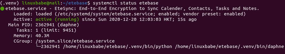systemctl status etebase