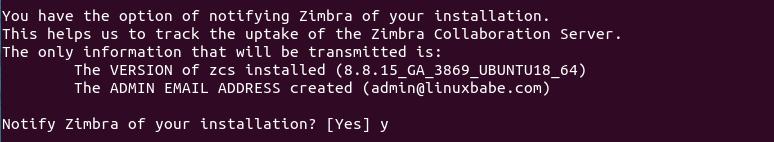 ubuntu 18.04 notifying Zimbra of your installation