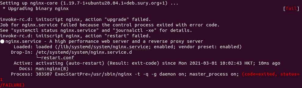 Upgrading binary nginx fail modsecurity