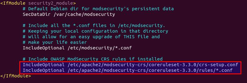 apache Install the OWASP Core Rule Set CRS debian ubuntu