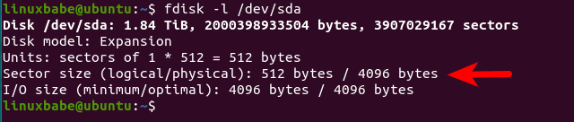 fdisk physical sector size logical sector size