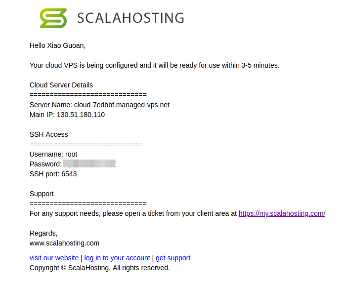 scalahosting VPS SSH credential