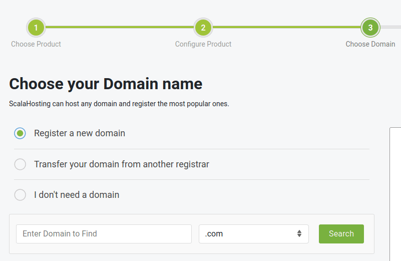 scalahosting choose your domain name