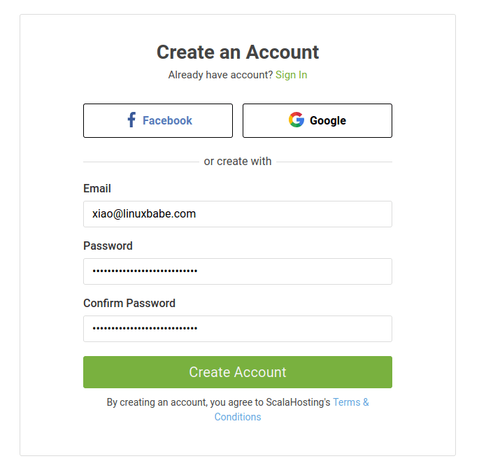 scalahosting create an account