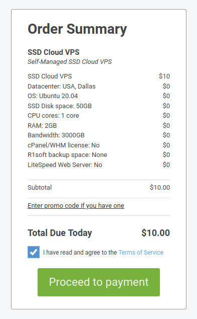 scalahosting order summary