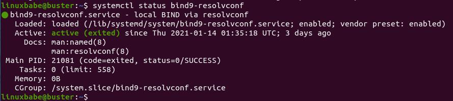 systemctl status bind9-resolvconf