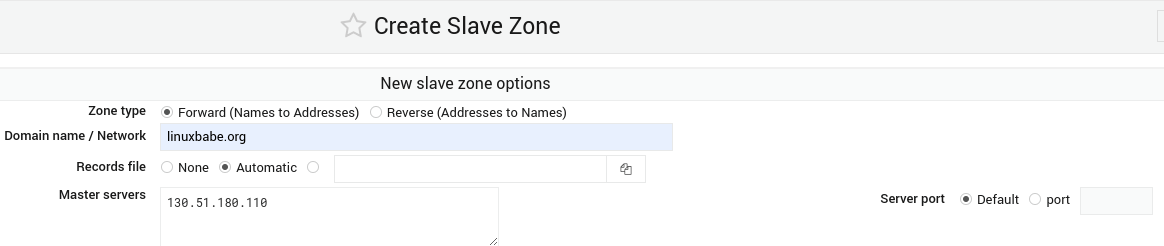 webmin create slave zone authoritative DNS server
