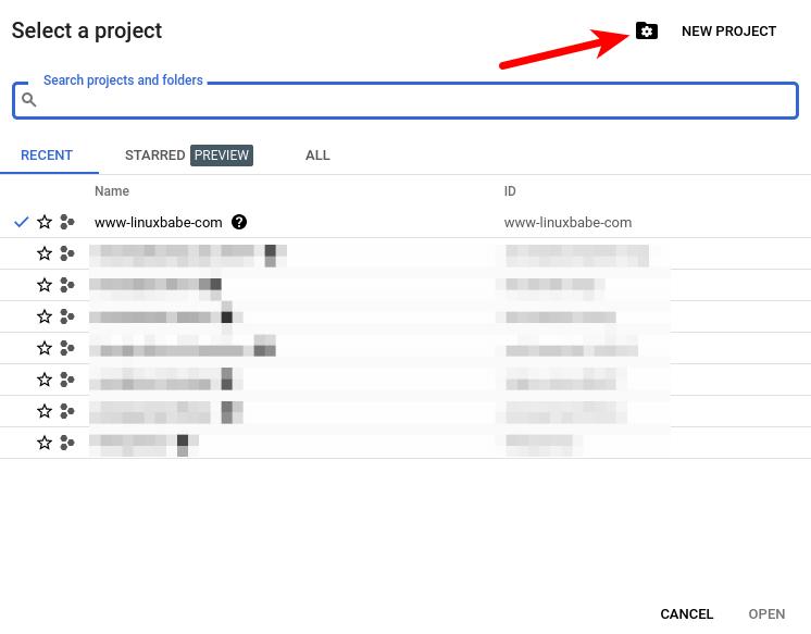 google apis & service create new project kodi