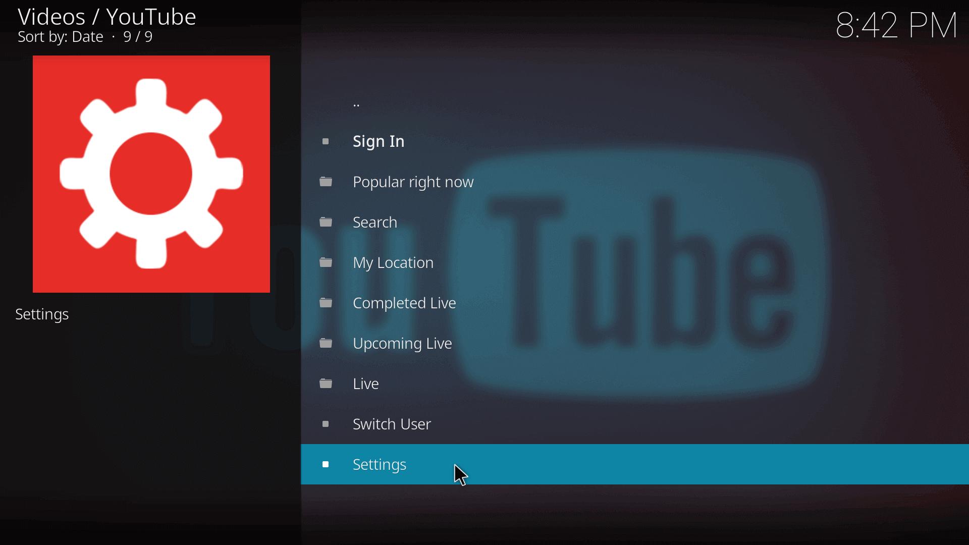 kodi add-ons youtube settings