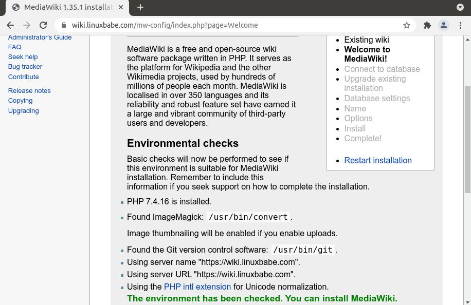 mediawiki environment check