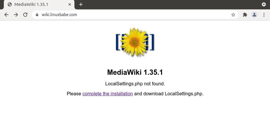 mediawiki install wizard