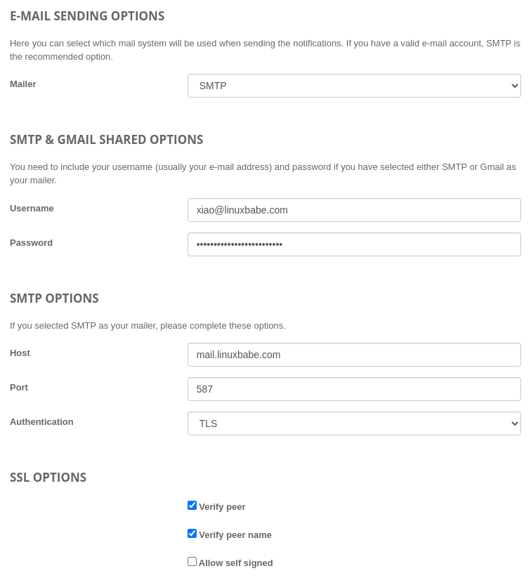 projectsend email sending options