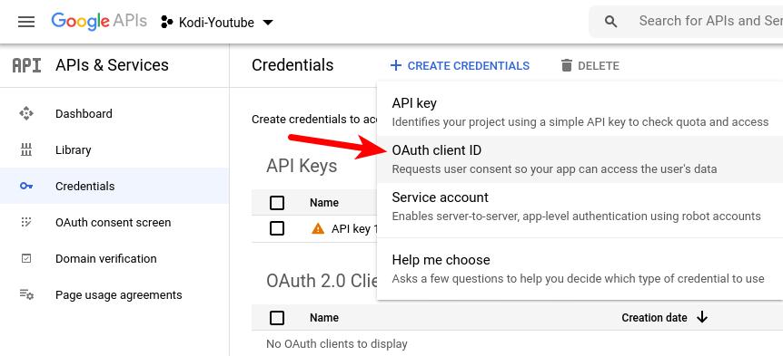 youtube api key oauth client ID