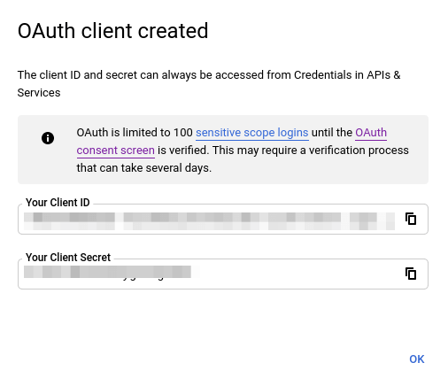 youtube data api client id & client secret