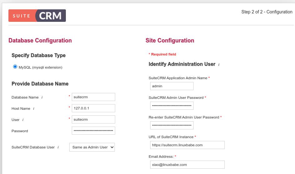 suitecrm Database Configuration