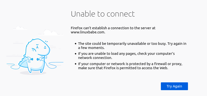 Firefox Unable to connect
