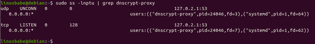 dnscrypt-proxy listening address-debian