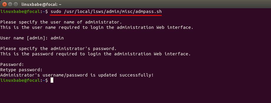 openlitespeed admin panel username password ubuntu 20.04