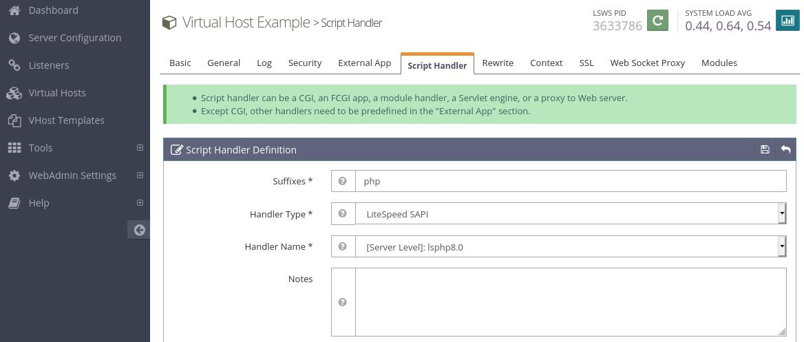 openlitespeed script handler php8.0