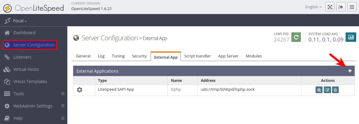 openlitespeed server level external app php
