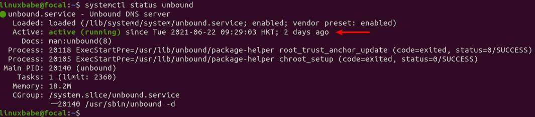 systemctl status unbound ubuntu