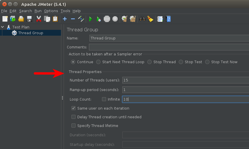 Apache JMeter thread group properties
