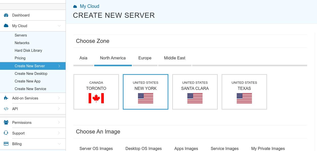 kamatera create new server