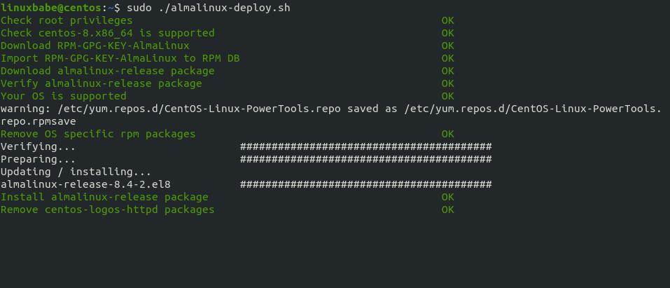 migrate centos 8 to alma linux 8