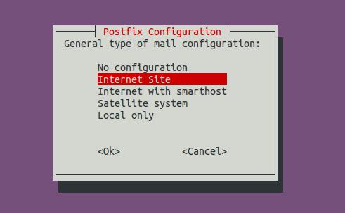 postfix general type of mail configuration debian
