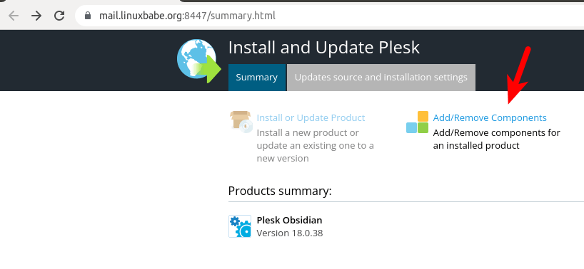 plesk add remove components